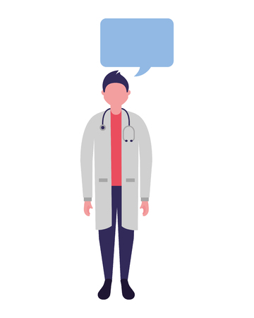 doctor male character speech bubble vector illustration Illustration