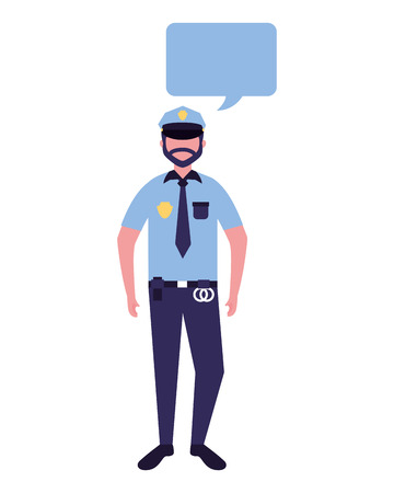 policeman character in uniform speech bubble vector illustration