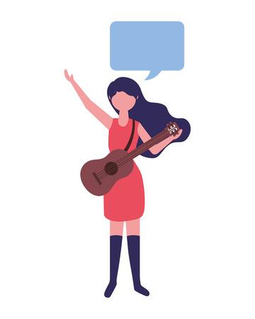 musician woman holding guitar speech bubble vector illustration