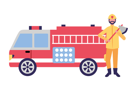 firefighter with ax and fire truck vector illustration