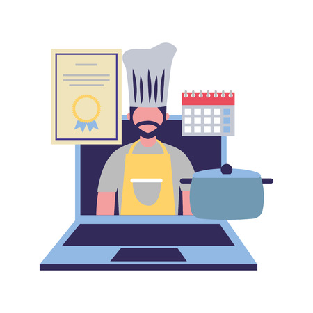 chief cooking male in laptop online certificate labor vector illustration Ilustracja