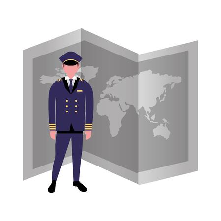 pilot airplane world map occupation labor vector illustration