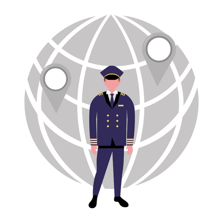 aviation pilot profession world location vector illustration