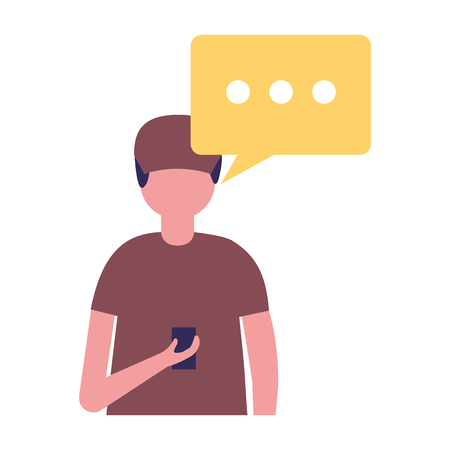 young man using cellphone with speech bubble vector illustration Standard-Bild - 109954456