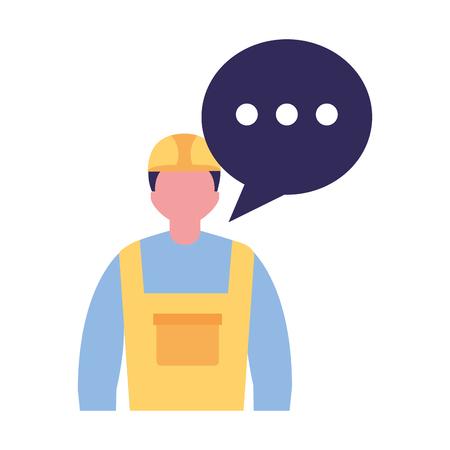 builder worker character speech bubble vector illustration