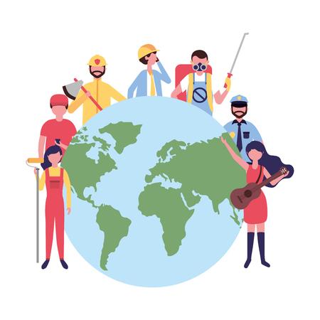 people group world international labor day vector illustration Ilustração