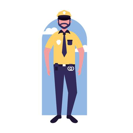 policeman character work profession labor vector illustration