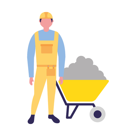 builder construction wheelbarrow concrete tool vector illustration