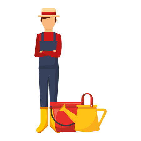 gardener man with watering can and bucket vector illustration
