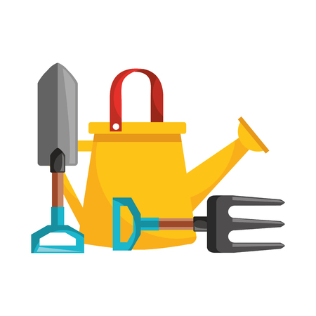 gardening watering can and shovel fork vector illustration