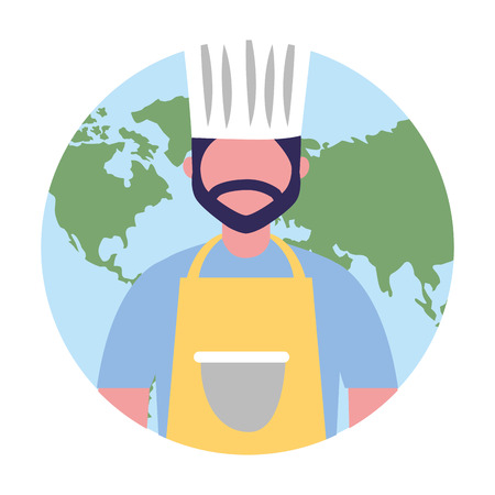 chief cooking male character professional vector illustration