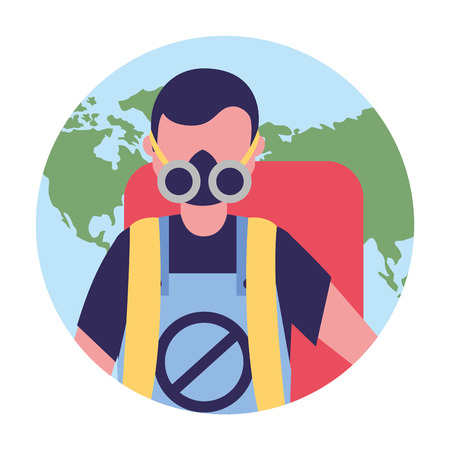worker with mask and pest extermination machine vector illustration Ilustracja