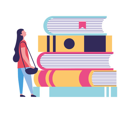 young woman with education books vector illustration Çizim
