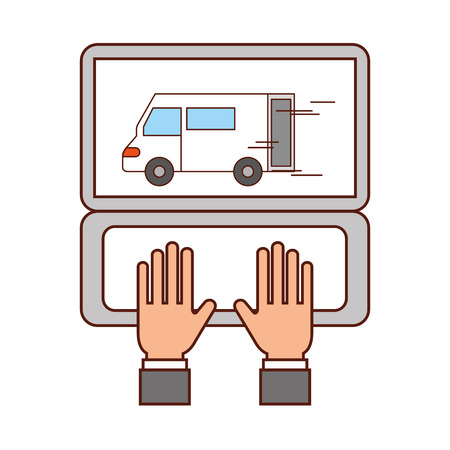 hands with laptop delivery truck warehouse logistic vector illustration Illustration