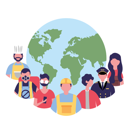 mensen groep wereld internationale dag van de arbeid vectorillustratie Vector Illustratie