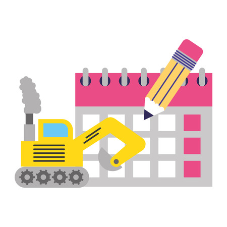 bulldozer truck calendar pencil labor day vector illustration