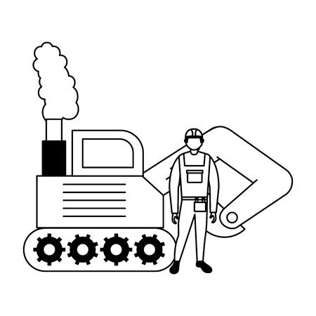 builder employee with bulldozer truck vector illustration Illustration