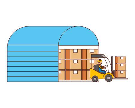 warehouse logistic worker forklift packages vector illustration