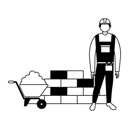 builder man wheelbarrow cement and brick wall vector illustration