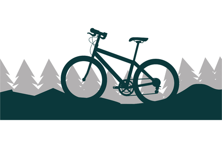 bicicleta, naturaleza, paisaje, montaña, árboles, vector, ilustración Ilustración de vector