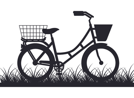 bicycle with basket outdoors scene Stock Illustratie