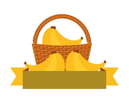 wicker basket with fresh bananas vector illustration  イラスト・ベクター素材