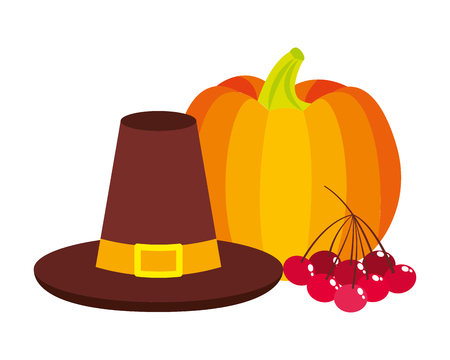 thanksgiving day hat pumpkin and cherries vector illustration Illustration