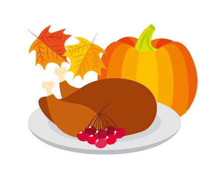 thanksgiving day turkey pumpkin cherries leaves vector illustration Illustration