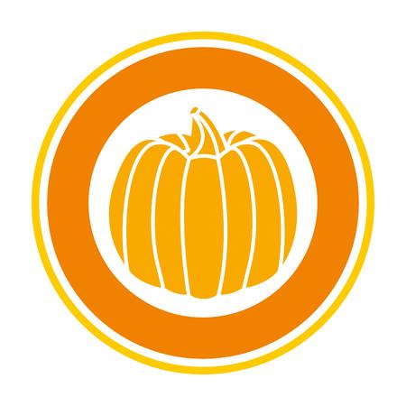 pumpkin fresh harvest sticker on white background vector illustration