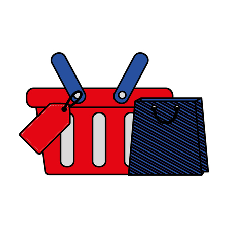 shopping online basket and bag tag price vector illustration