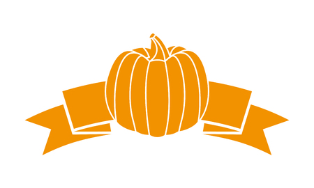 yellow fresh pumpkin ribbon on white background vector illustration