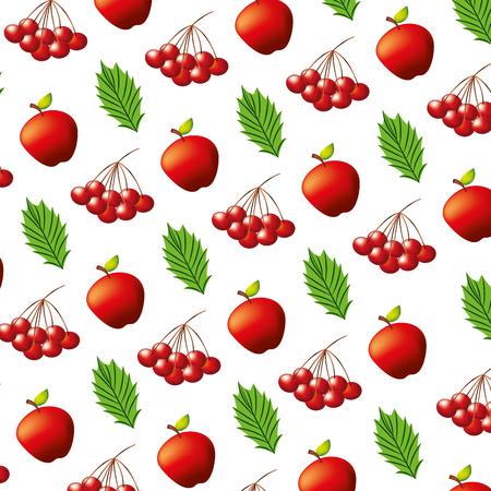 apples cherries and leaves pattern vector illustration Ilustracja