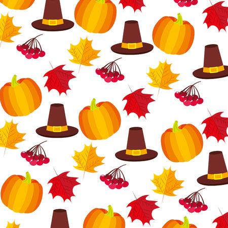 pumpkin hat cherries thanksgiving day pattern vector illustration