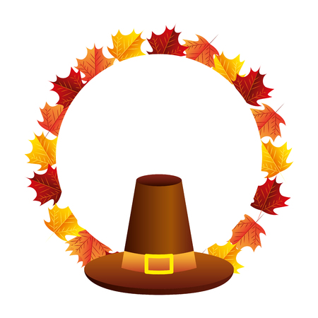 thanksgiving day hat accessory leaves vector illustration
