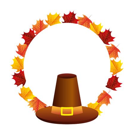 thanksgiving day hat accessory leaves vector illustration Standard-Bild - 109978253