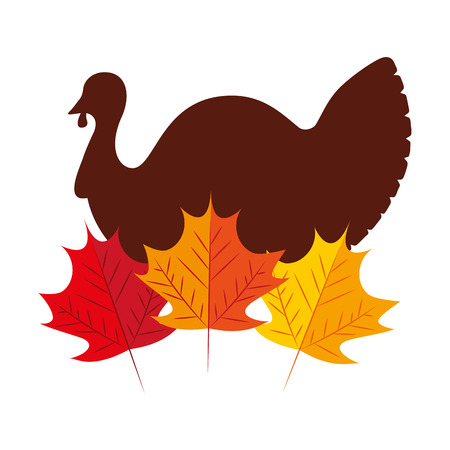 turkey bird with autumn leaves natural vector illustration