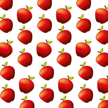 fresh apples fruit natural pattern vector illustration Ilustração