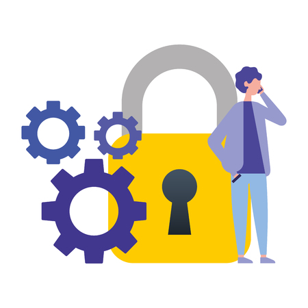 businessman using mobile security gears vector illustration