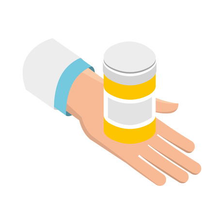 Mano con botella de pastillas ilustración de vector de salud médica