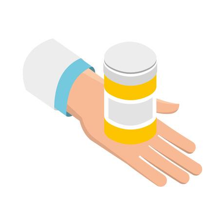 mano con bottiglia pillole medico sanitario illustrazione vettoriale