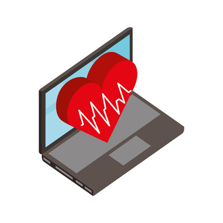laptop heartbeat cardiology medical healthcare vector illustration Illustration