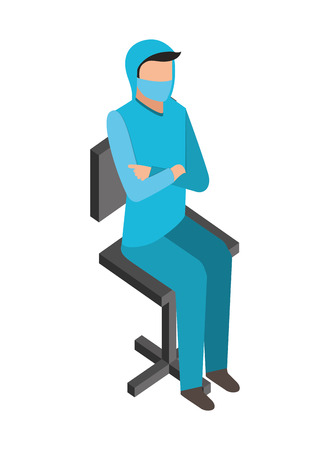 doctor sitting on chair medical healthcare vector illustration  イラスト・ベクター素材