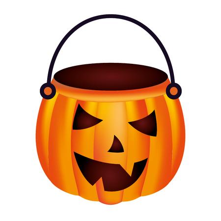 halloween pumpkin shape basket cartoon vector illustration