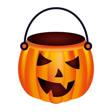 halloween pumpkin shape basket cartoon vector illustration