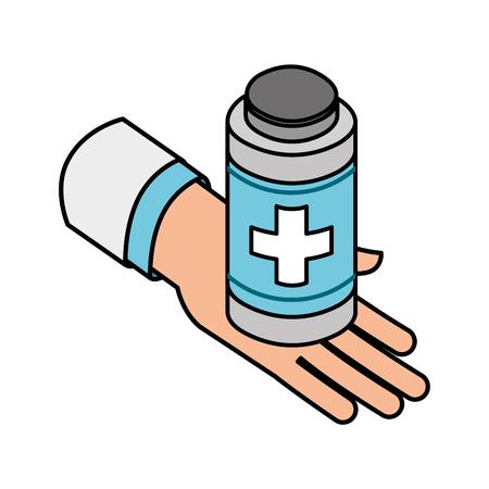 hand with bottle medicine medical healthcare vector illustration Иллюстрация