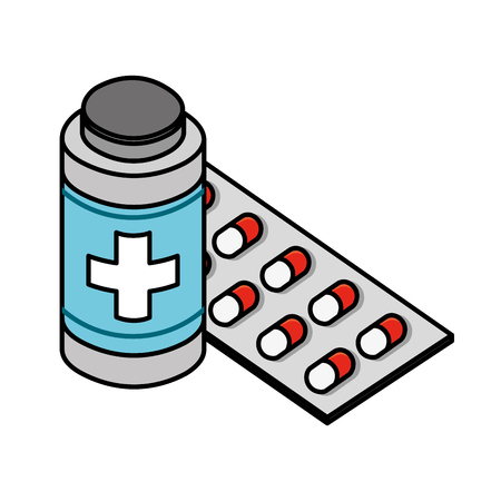 bottle and packaging capsule medical healthcare vector illustration Archivio Fotografico - 109978335