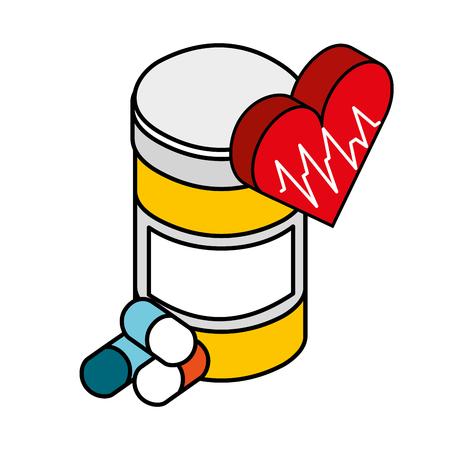 bottle medicine capsule medical healthcare vector illustration Иллюстрация