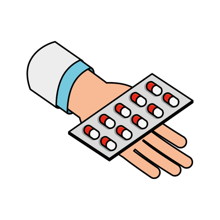 hand holding packaging capsule medical healthcare vector illustration