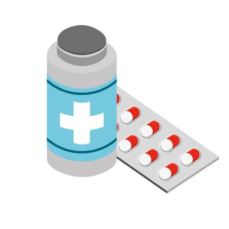 bottle and packaging capsule medical healthcare vector illustration Banque d'images - 109978381