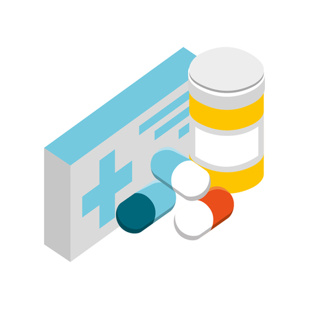 pharmacy medicine pills medical healthcare vector illustration Banque d'images - 109978385